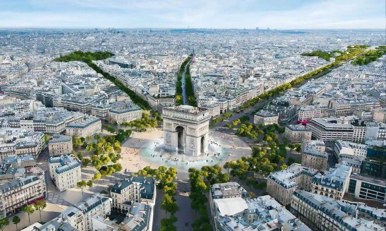 Een afbeelding van het architectenbureau PCA-Stream met de geplande wijzigingen aan de Champs-Élysées. Beeld PCA-Stream