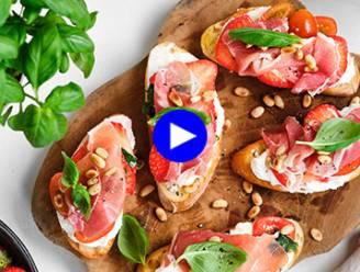 Apero met zoet en zout: bruschetta met aardbeien, ricotta en ham