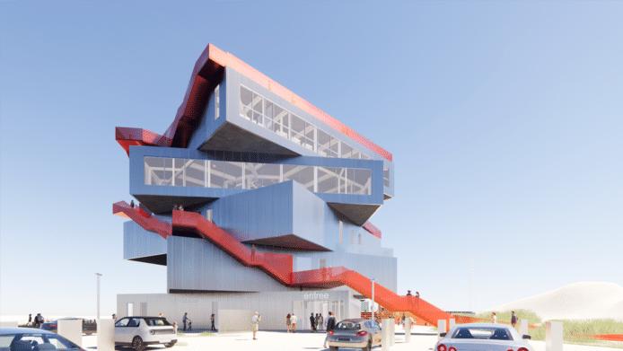 Impressie van het nieuwe Havenervaringscentrum (HEC), vlakbij het recreatiestrand op de Tweede Maasvlakte