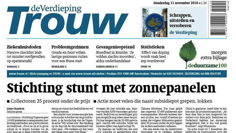 Voorpagina Trouw op 11 november 2010: het begin van een zonne-revolutie in Nederland Beeld Vincent Dekker