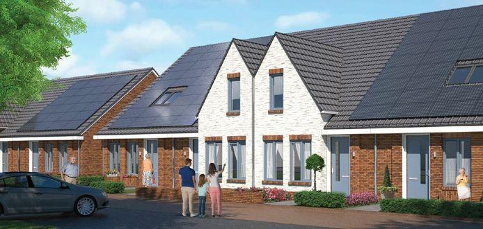 Impressie van de te bouwen woningen aan de Kruissteenstraat in Wierden.