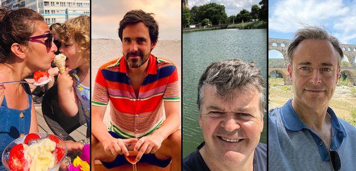 Politici op vakantie. Van links naar rechts: Zuhal Demir, Kristof Calvo, Bart Somers en Bart De Wever.