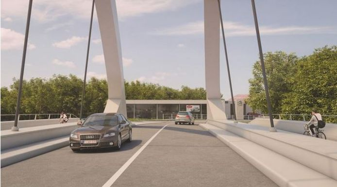 Een blik op de nieuwe Leiebrug tussen Marke en Bissegem
