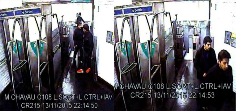 Bewakingsbeelden tonen Abdelhamid Abaaoud en Chakib Akrouh in metrostation Nation, na hun aanslag.  Beeld rv