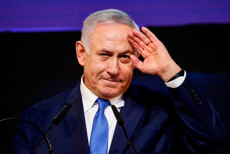 Benjamin Netanyahu. Aan de vooravond van de verkiezingen beloofde hij de Israëlische nederzettingen in bezet Palestijns gebied formeel in te lijven. Beeld AFP