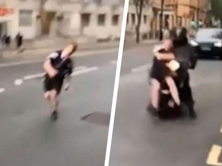 Waanzinnige beelden: ladderzatte Schot knalt tegen motor aan, maar zet zijn tocht gewoon verder