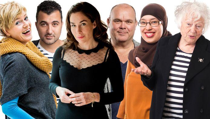 Een aantal van de nieuwe columnisten in het AD. V.l.n.r: Anniek van den Brand, Özcan Akyol, Halina Reijn, Paul de Leeuw, Hanina Ajarai en, een oude bekende, Marjan Berk.