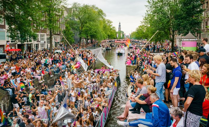 Canal Parade in Amsterdam in 2019.