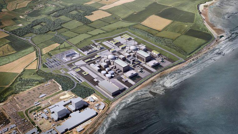 Een computersimulatie van hoe Hinkley Point C eruit zou komen te zien. De Britse premier May heeft echter nog haar twijfels over de realisatie van de megakerncentrale. Beeld AFP