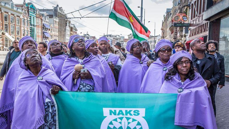 Een mars ter herdenking van de afschaffing van de slavernij in 2015. Beeld Hollandse Hoogte/Amaury Miller