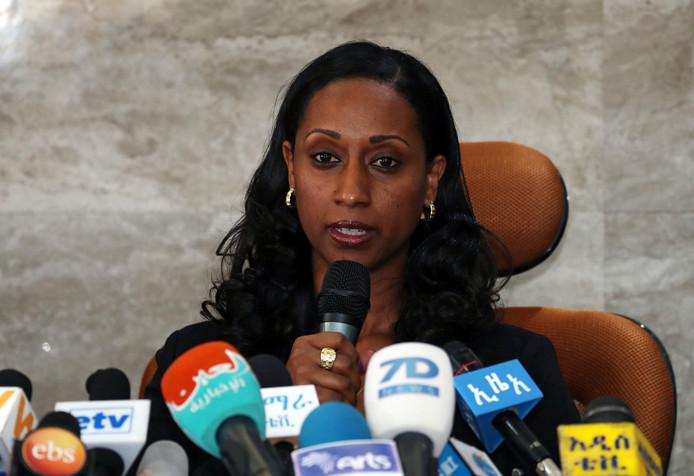 Ethiopische minister van transport Dagmawit Moges beantwoordt vragen naar aanleiding van het vandaag uitgekomen voorlopige rapport over de crash van Ethiopian Airlines ET 302