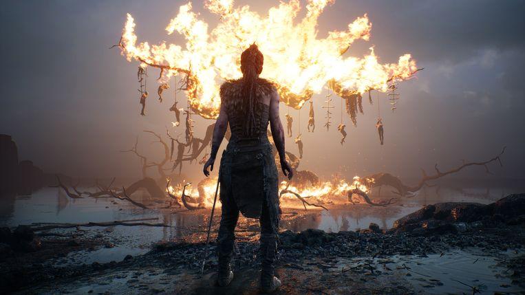 De Keltische heldin baant zich een weg door een onderwereld in 'Hellblade: Senua's Sacrifice' Beeld Ninja Theory