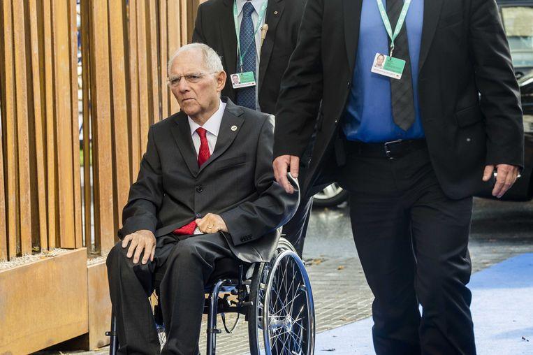 Wolfgang Schauble tijdens een informele bijeenkomst van de Eurogroep in Estland.  Beeld ANP
