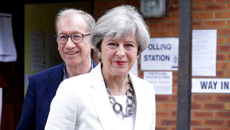 Theresa May en haar echtgenoot Philip Beeld ap