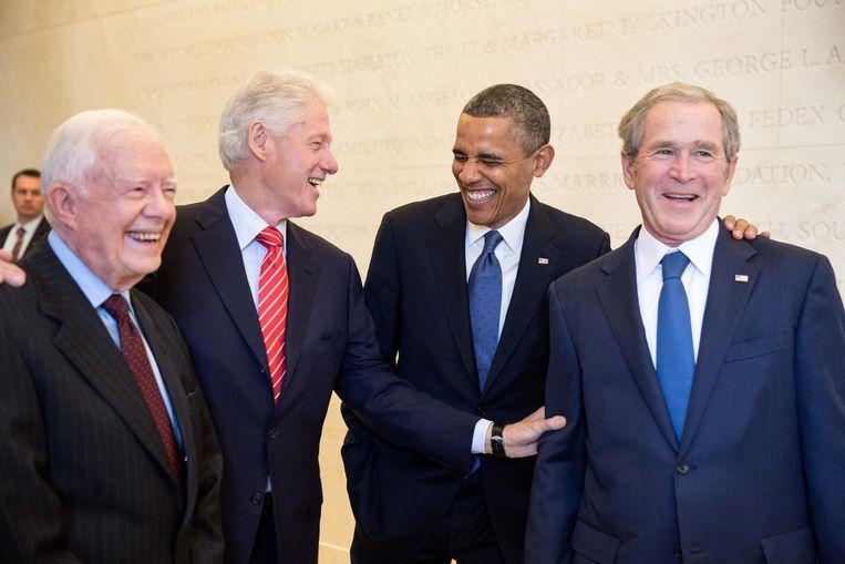 Obama met ex-presidenten Carter, Clinton en Bush. Beeld Pete Souza / The White House