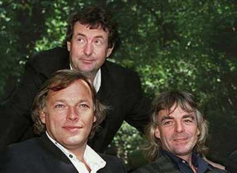 Pink Floyd in 1988: David Gilmour, Nick Mason en Richard Wright (r). Foto AP Beeld