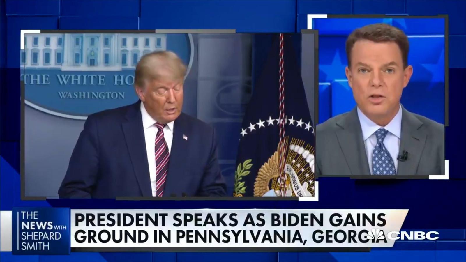 Verschillende Amerikaanse nieuwszenders hebben vannacht een persconferentie van president Trump afgekapt omdat hij onwaarheden verkondigde