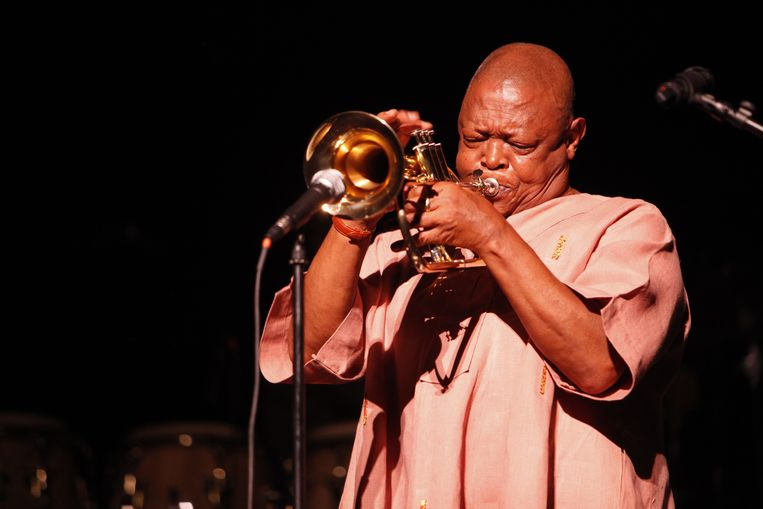 Hugh Masekela in de Music Hall of the Performing Arts in Detroit, in april 2013. Beeld Getty/Monica Morgan/WireImage