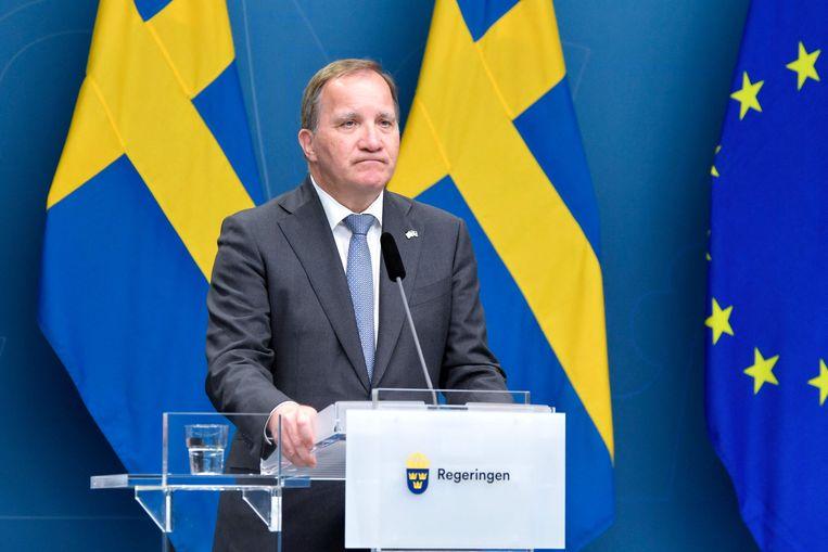 Stefan Löfven kondigt de val aan. Beeld AFP
