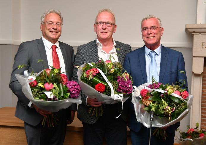 De drie wethouders van Hilvarenbeek, vlnr: Overmans, Van de Loo en Van der Put.