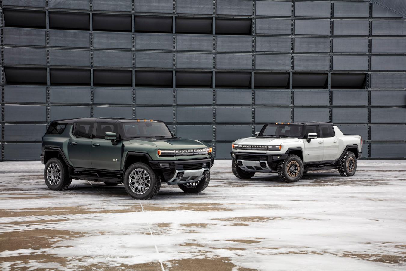 De Hummer keert terug als elektrische SUV en pick-up (rechts).