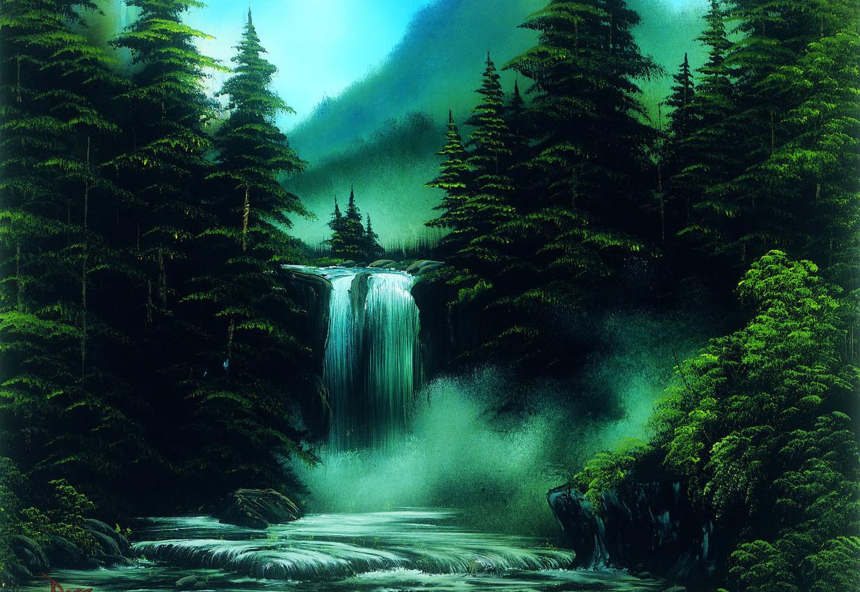 Er moeten minimaal 1143 originele werken van Bob Ross bestaan.  Blue Ridge Falls uit tv-seizoen 30, gemaakt in 1994, is een van de aankopen van het Smithsonian.