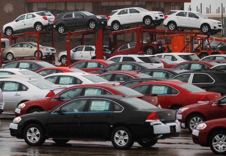 General Motors-auto's bij een assemblagefabriek in Oshawa, Canada. Beeld REUTERS