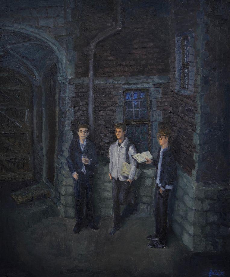 Felix De Clercq, 'De universiteitsstudenten'. 60 x 50 cm, oil on canvas, 2.200 euro. Beeld Gallery Sofie van de velde