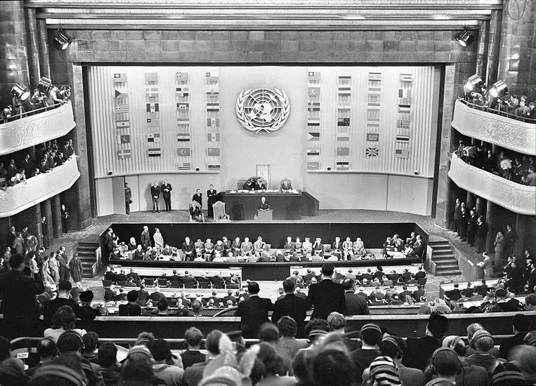 Op 10 december 1948 ondertekenden vijftig landen die verklaring in Parijs. Beeld BELGAIMAGE