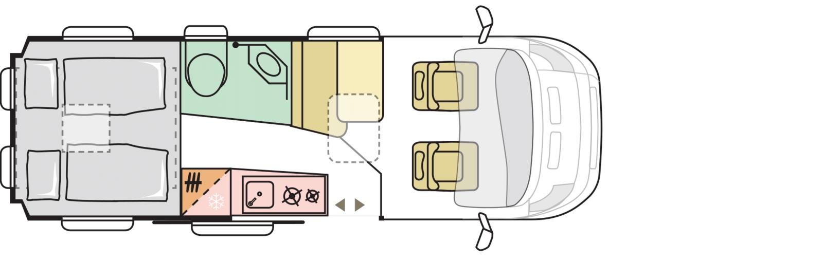Overzicht van de indeling van het interieur: achterin slapen en in het midden de woonruimte met keuken en badkamer.