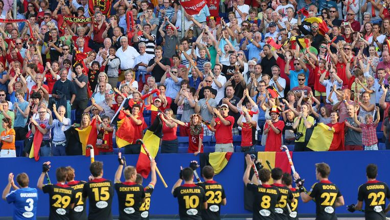 De Belgen feesten op het afgelopen EK in Boom. Een WK komt er voorlopig niet in België. Beeld EPA