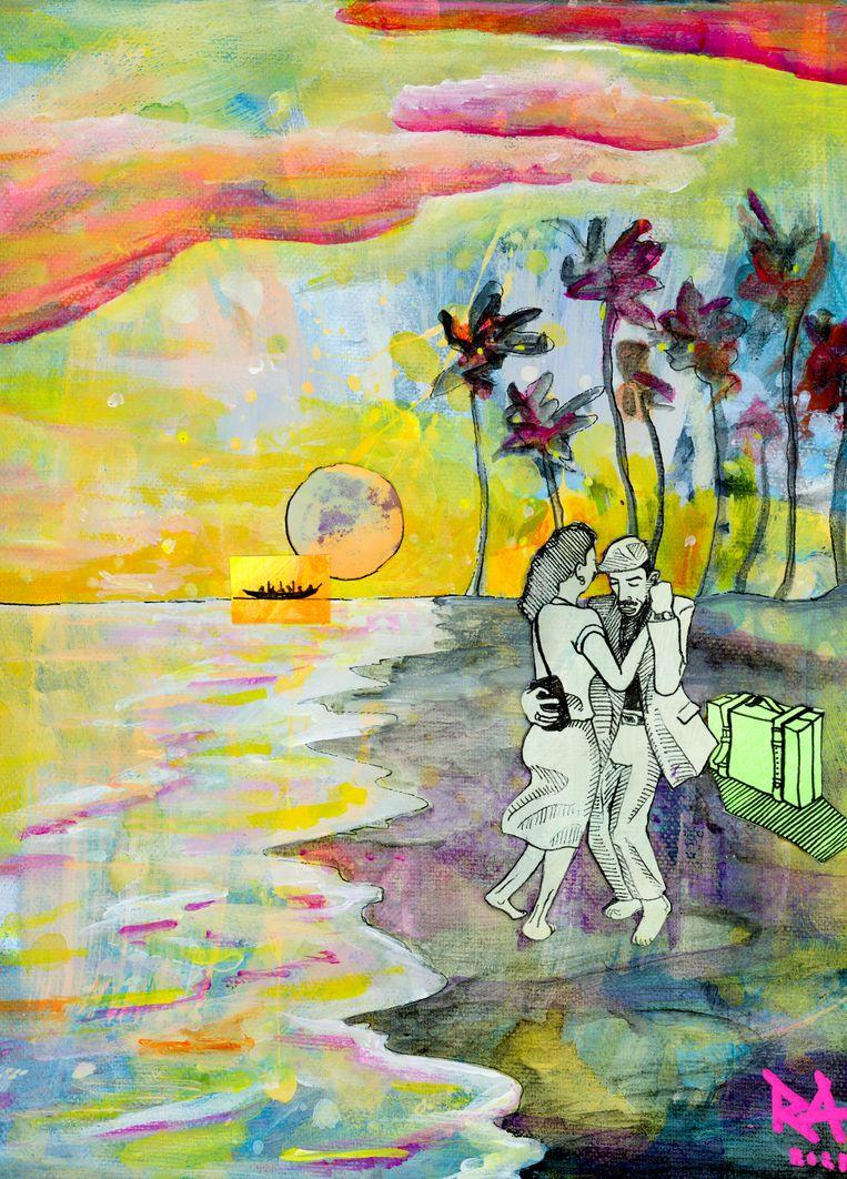 Werk van Richard Kofi: 'Tekenen deed ik altijd al wel, maar ik had nooit gedacht er serieus iets mee te kunnen doen.' Beeld Richard Kofi