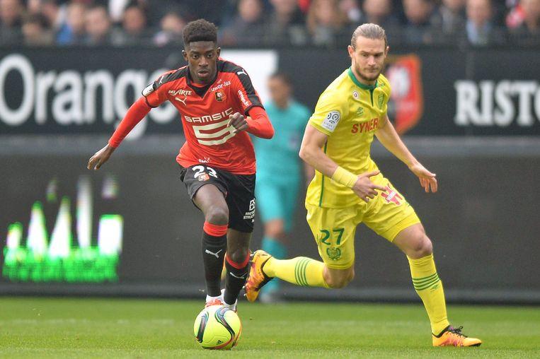 Montanier liet Ousmane Dembéle debuteren bij Rennes, ook Guillaume Gillet (rechts) voetbalde nog onder de Fransman. Beeld Photo News