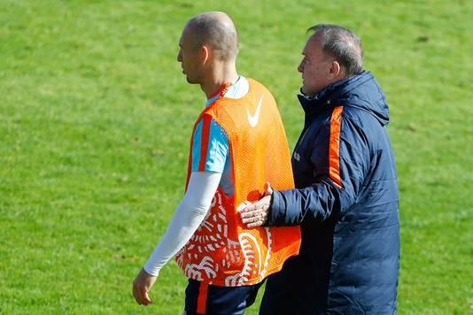 Robben met bondscoach Dick Advocaat