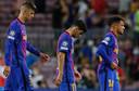 Gerard Pique, Yusuf Demir en Philippe Coutinho lopen teleurgesteld het veld af.