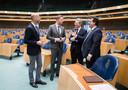 Van links naar rechts: Tjeerd de Groot (D66), Arne Weverling (VVD), Roelof Bisschop (SGP) en Jaco Geurts (CDA)