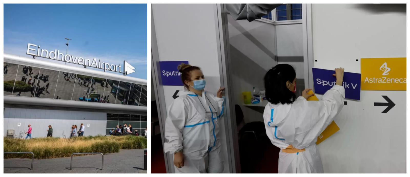 De luchthaven van Eindhoven, op een half uurtje rijden van de Belgische grens. Foto rechts:  verpleegkundigen in een vaccinatiecentrum in de Servische hoofdstad Belgrado. Servië vaccineert onder meer met het Russische Sputnik-vaccin.