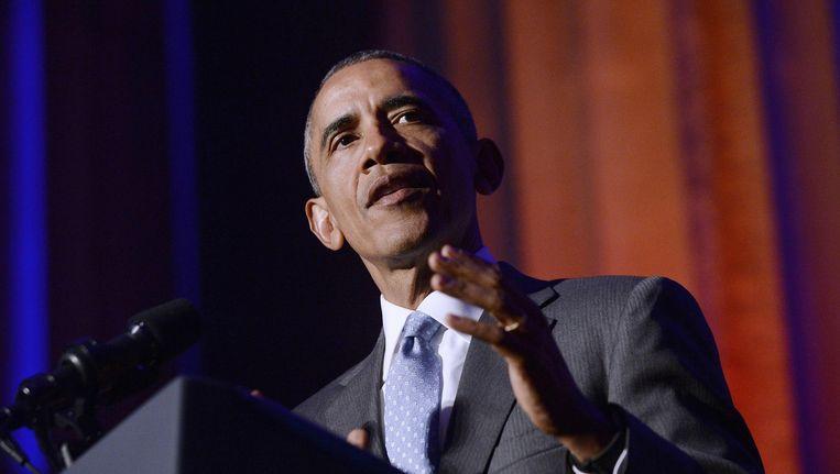 Barack Obama tijdens zijn toespraak in Washington D.C. Beeld anp