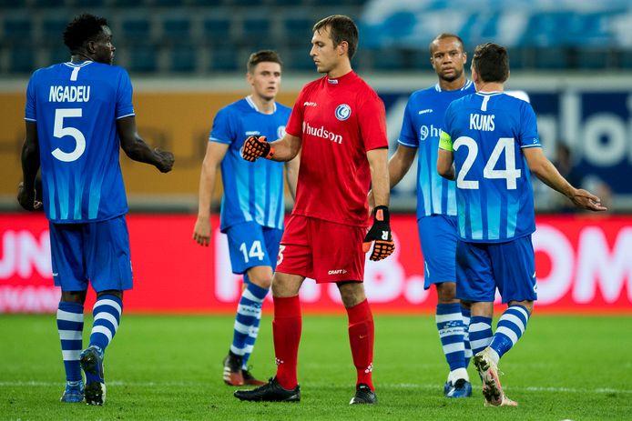 Ngadeu en Davy Roef na de verloren match tegen Hoffenheim.