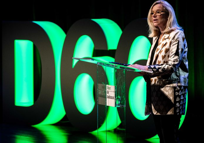 Minister Sigrid Kaag voor Buitenlandse Handel en Ontwikkelingssamenwerking tijdens het D66 partijcongres waarin ze het op het einde met een knipoog had over 'een moeder als premier'.