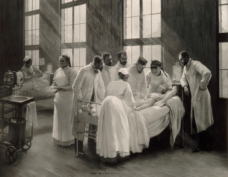 Een injectie tegen kroep in het Hôpital Trousseau in Parijs (1899).  Beeld Bibliothèque nationale de France