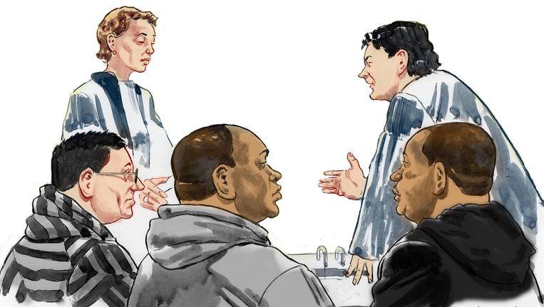 Rechtbanktekening van de eerste pro forma-zitting in de zaak, op 28 juni dit jaar. Beeld anp