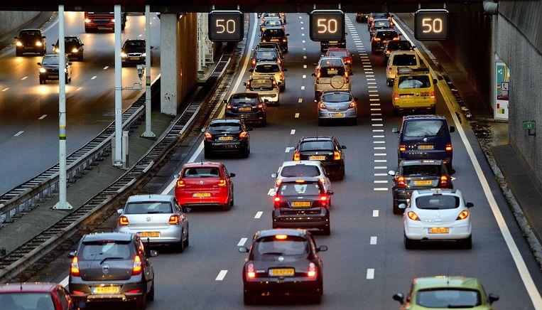 Ter illustratie: file op de A12 richting Den Haag. Beeld ANP