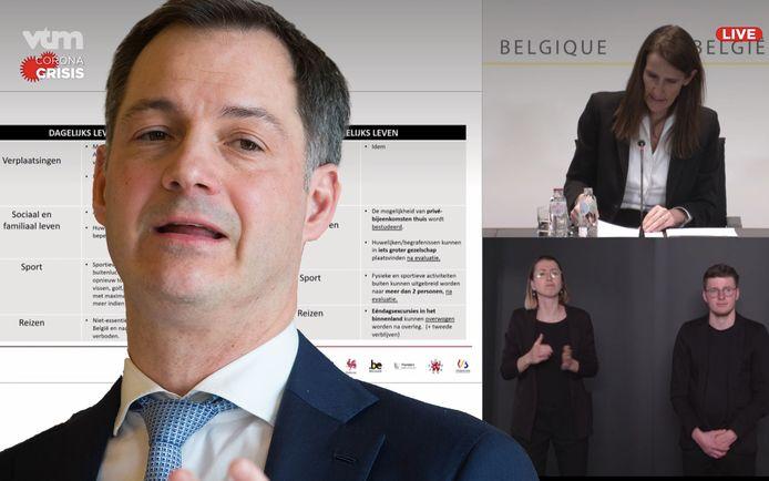 Minister en vicepremier Alexander De Croo (Open Vld) belooft beterschap voor toekomstige persconferenties.
