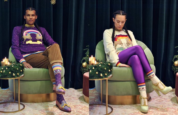 Stromae en Coralie Barbier in hun kerstcollectie.
