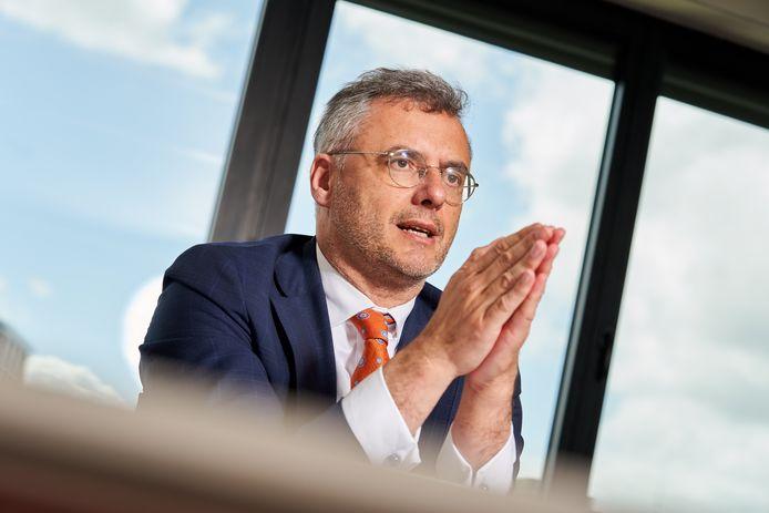 Beeld tijdens het interview van CD&V-voorzitter Joachim Coens voor 'Het Laatste Nieuws'.