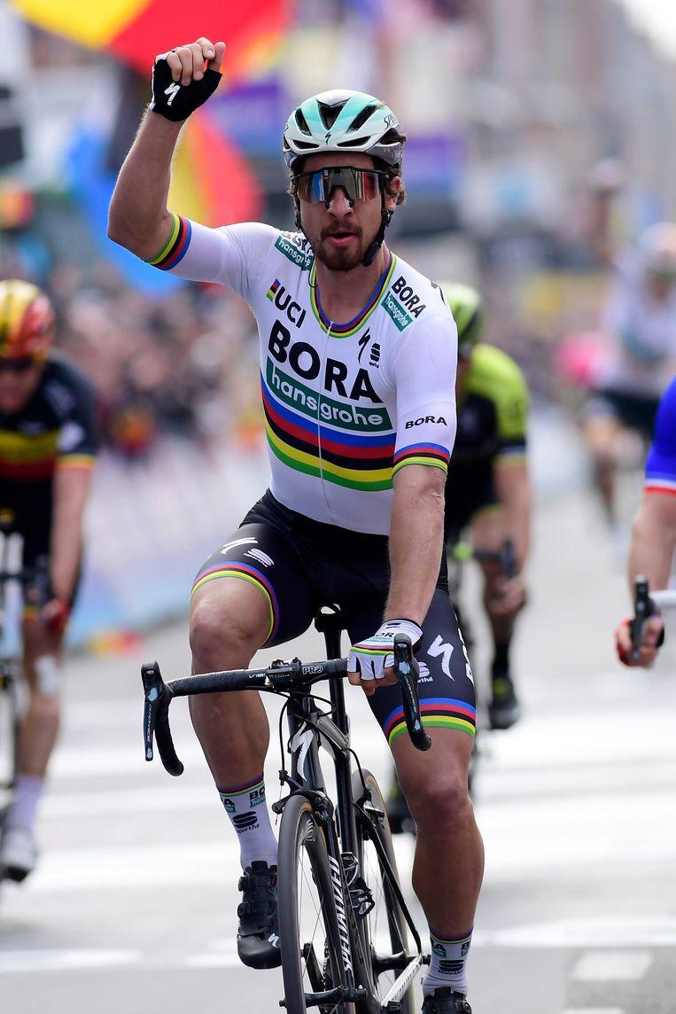 ► Sagan is in topvorm. Hij versloeg sprinters als Viviani en Démare, en klopte specialisten als Van Avermaet en Gilbert. Beeld Photo News