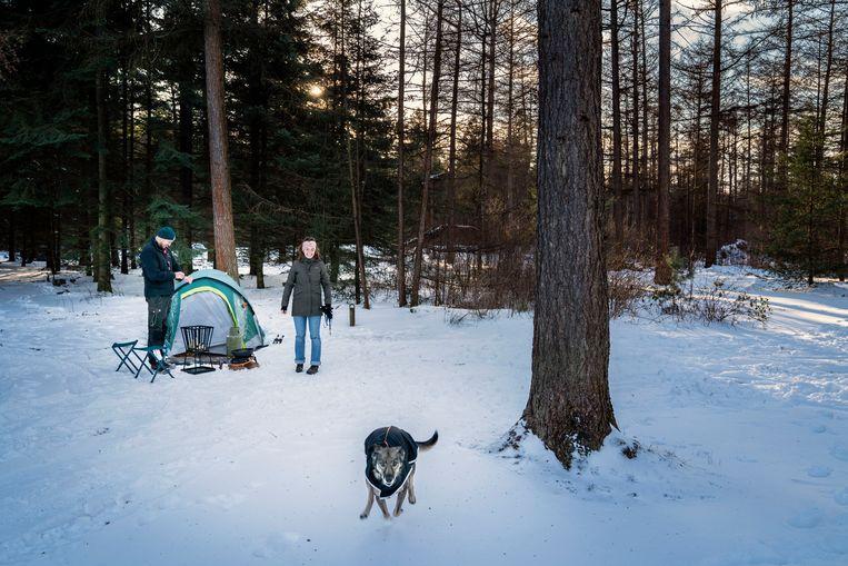 Jesper Hommes, zijn vriendin Evelyn Polhuijs en hondje Faya tijdens het winterkamperen in de Drentse bossen.  Beeld Reyer Boxem