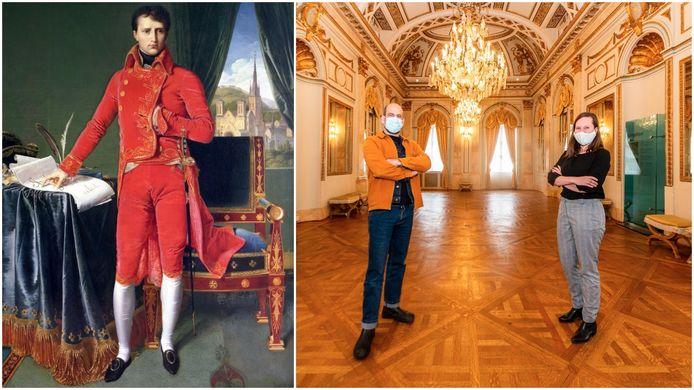 Jonas Devos en Helena ten Berge van Herita in de Spiegelzaal (r.), die ooit nog toebehoorde aan Napoleon.