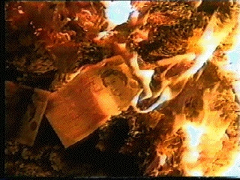 Vage close-ups tonen hoe het hoofd van de Britse queen op de briefjes wordt weggevreten door de vlammen.